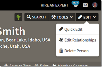 Ancestry Member Tree link for editing relationships is found in the edit menu.