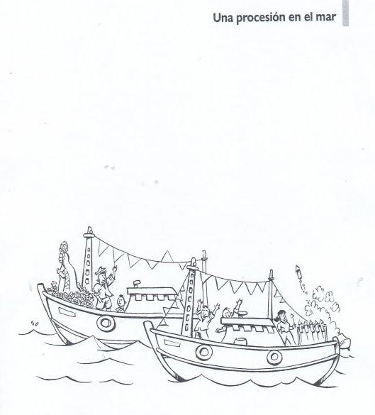 Procesión en el mar de la virgen para colorear