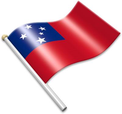 The Samoan flag on a flagpole clipart image