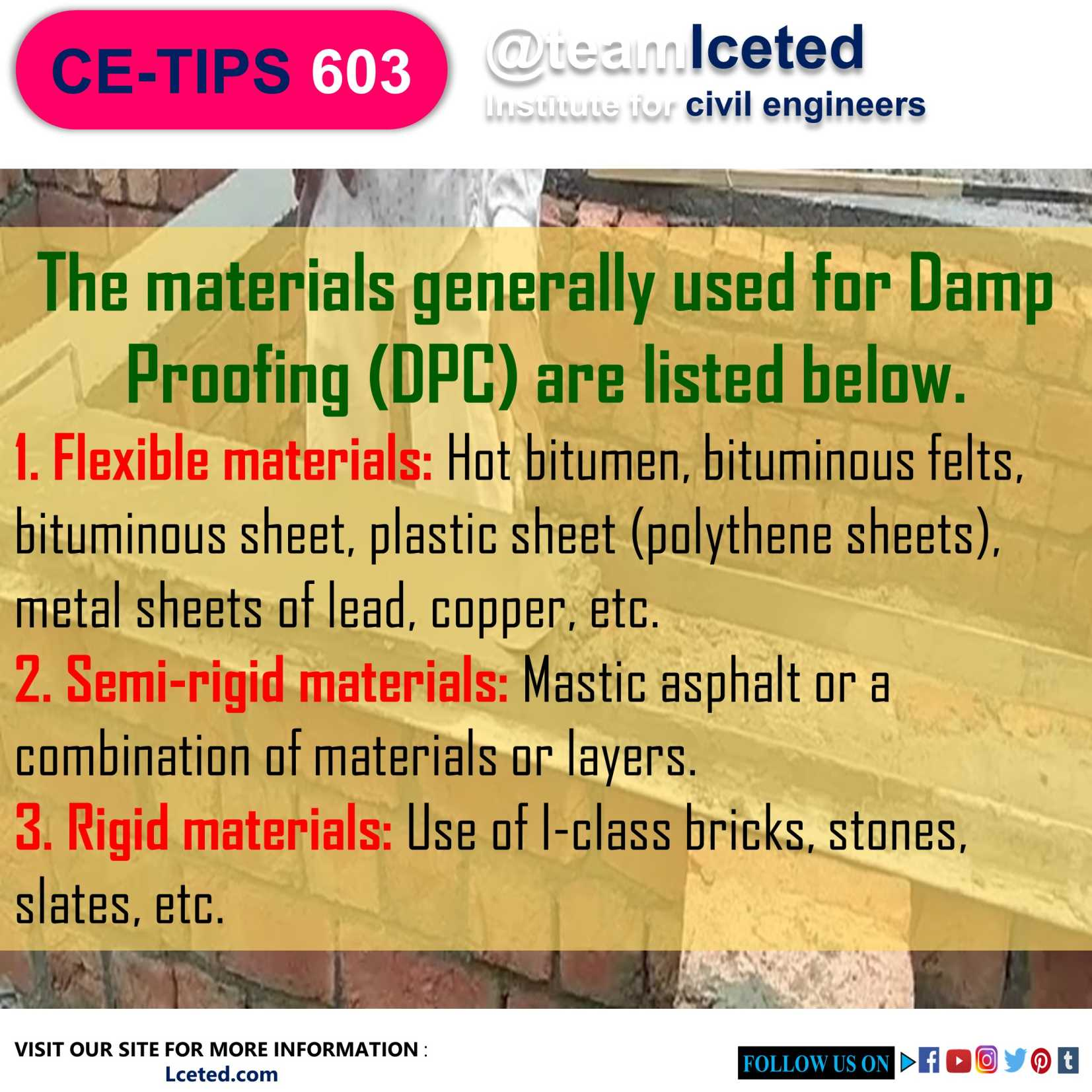 Materials Used For Damp Proofing (DPC)