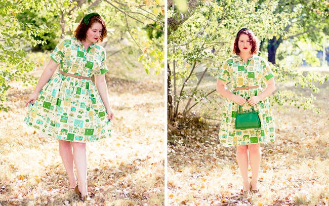 Shades of green and blue 50s novelty print | Lavender & Twill