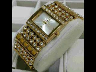 jam tangan Guess rantai full mata full gold