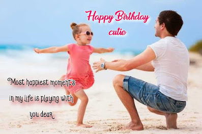 Girl Playing with her father happy moments on beach, Happy birthday quotes for kids.