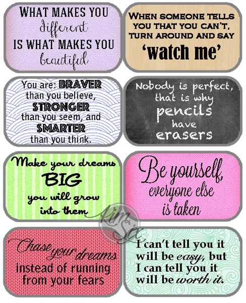 Free inspirational printable lunchbox notes