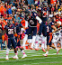 Illinois defenders Earnest Thomas #9 and Justin Staples #54 celebrate a sack (NCAA Football: Illinois 17 vs. Indiana 31, October 27, 2012, Memorial Stadium, Champaign, IL)