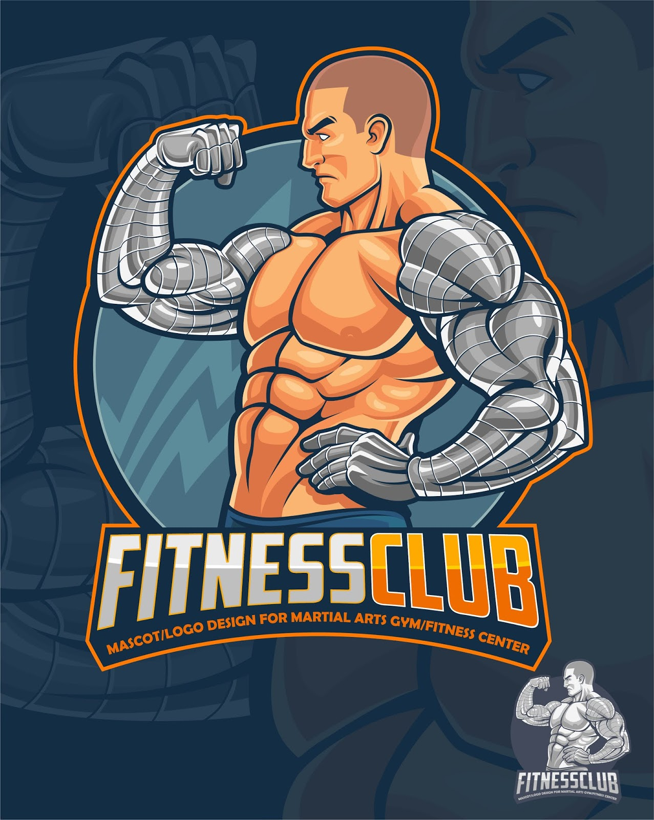 Fitness Club Mascot Logo Free Download Vector CDR, AI, EPS and PNG Formats