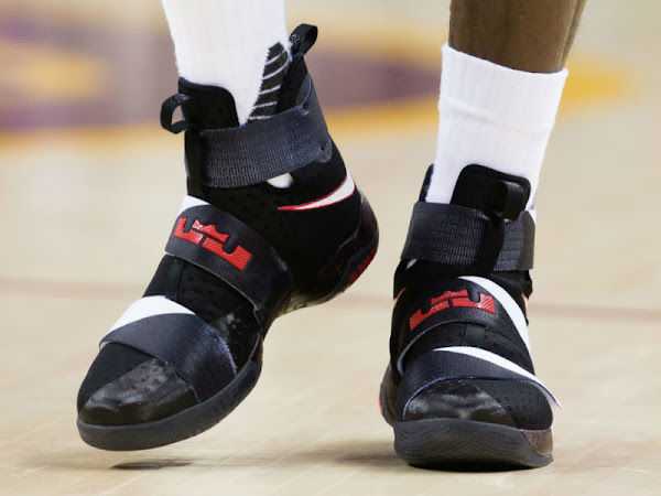King James Debuts Unseen Nike Soldier 10 BlackRed PE