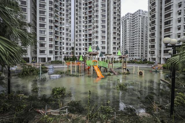 A children's playground at Heng Fa Chuen is left under water after Typhoon Mangkhut hit Hong Kong, 16 September 2018. Photo: Winson Wong / SCMP