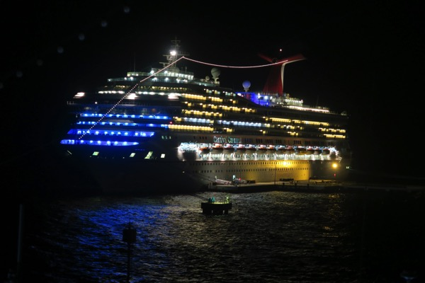 Carnival Conquest at night