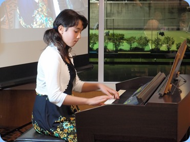 Hana Tani, played two classical pieces for us on our Clavinova CVP-509. Hana is just 10 years of age but playing with a wonderful touch and fluency. Photo courtesy of Dennis Lyons.