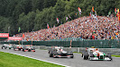 Kemmel Straight several F1 cars