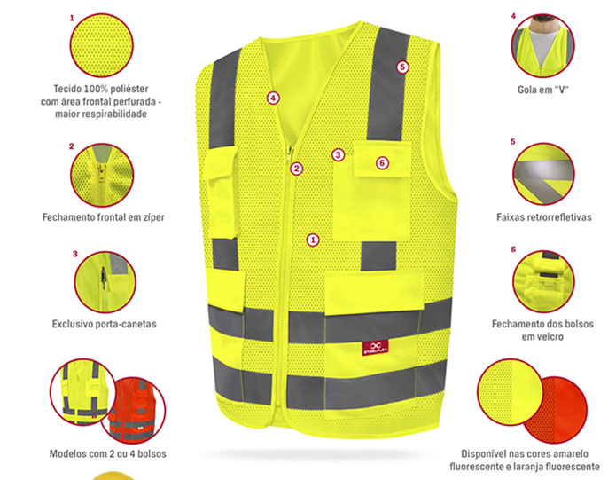 ea76f0d5a8ec8 Compre este item no Varejo  Topo · Colete SteelFlex Refletivo Com 1 Bolso  Amarelo Fluorescente