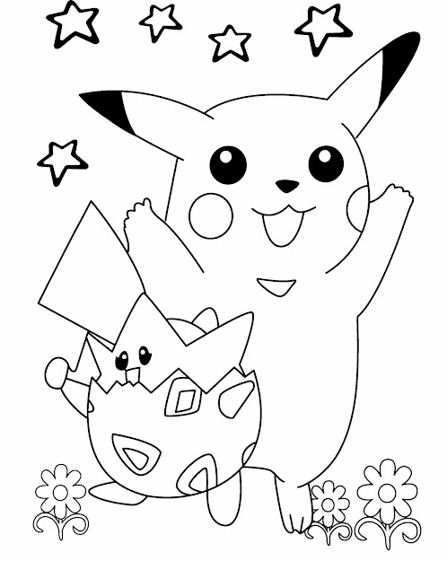 Pokemon Pikachu Playing In The Flower Garden Coloring Pages