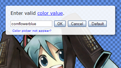 Color setting dialog without color picker