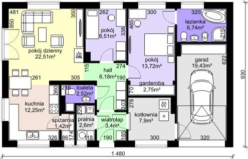 Dom przy Przyjemnej 9 - Rzut parteru