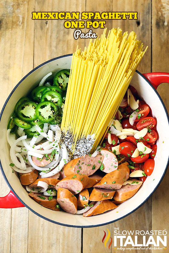 Title Text (shown in a pot): Mexican Spaghetti One Pot Pasta