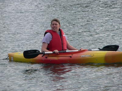 Some adults gave the new kayaks a try