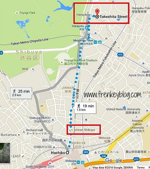 Peta dari Shibuya ke Harajuku ( Takeshita Street )