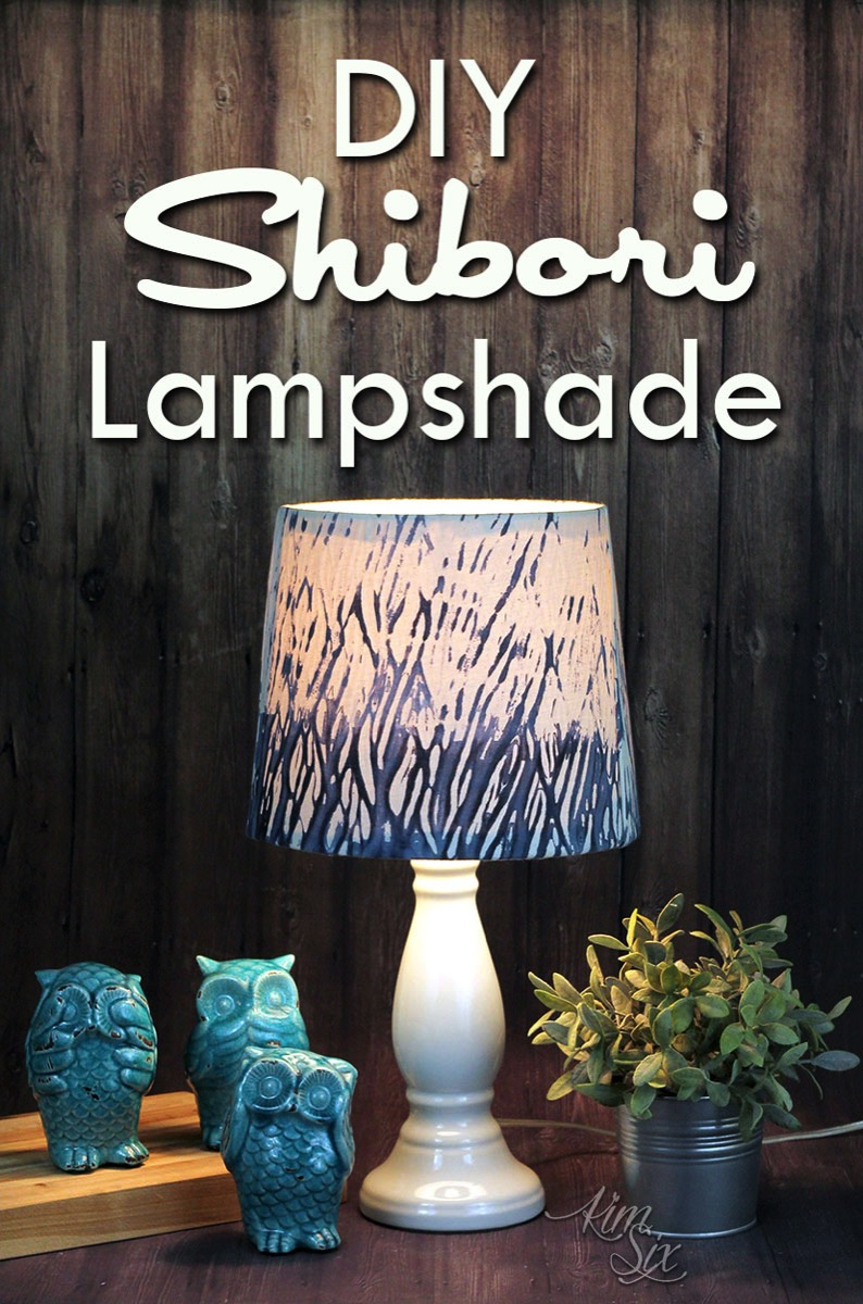 How I created this DIY Shibori fabric and turned it into a beautiful lampshade.  The pattern was created with a pole wrapping technique