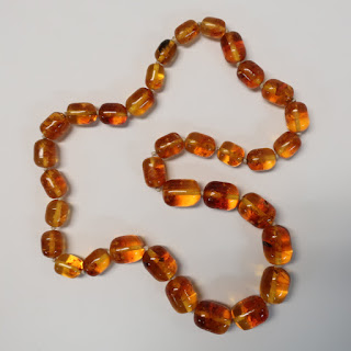 Amber Barrel Bead Necklace