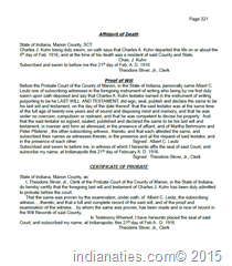 Transcription of Probate Proceedings, Charles A. Kuhn, Indpls, IN, 1916 - 1917