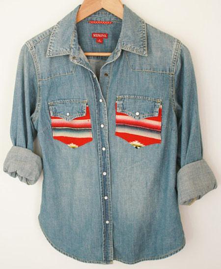 customização de camisa jeans - detalhe nos bolsos