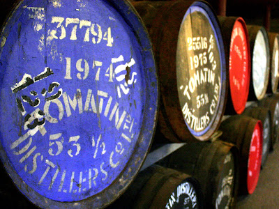 Whisky Barrels at Tomatin Distillery in Scotland