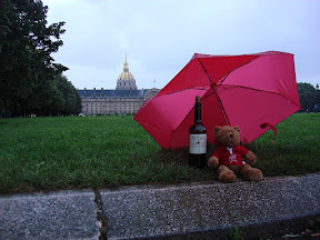 "Jonathan did this ""where will the bear go next?"" web page for his girlfriend.  He took photos of this bear (she calls him Jon the Bear) in various locations.  Here he is enjoying some wine in the rain in front of Les Invalides."