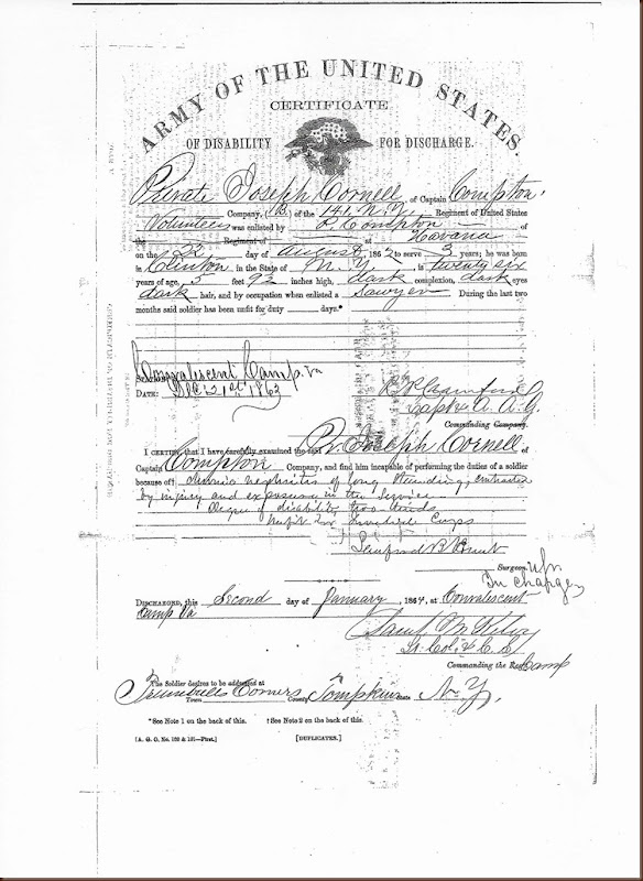Cornell Joseph Discharge info Civil War