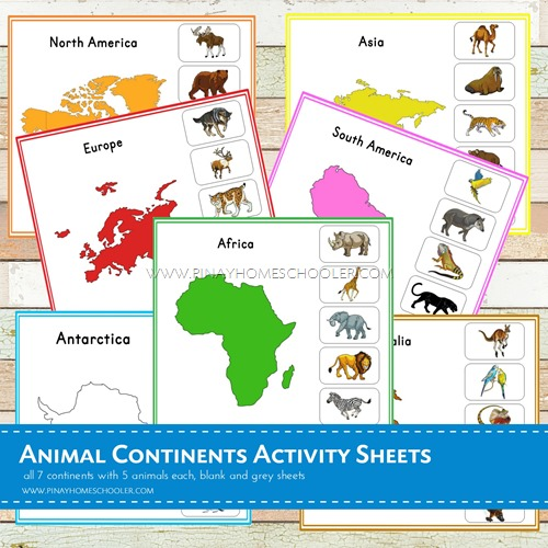 Montessori Inspired Animal Continents Activity Sheets