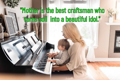Mother teaching piano to her baby, Happy Birthday quotes for mothers.
