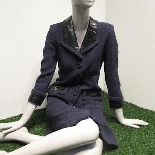 Chanel Navy Blue Tweed Coat