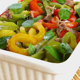3 Peppers Salad with Anchovies and Basil.