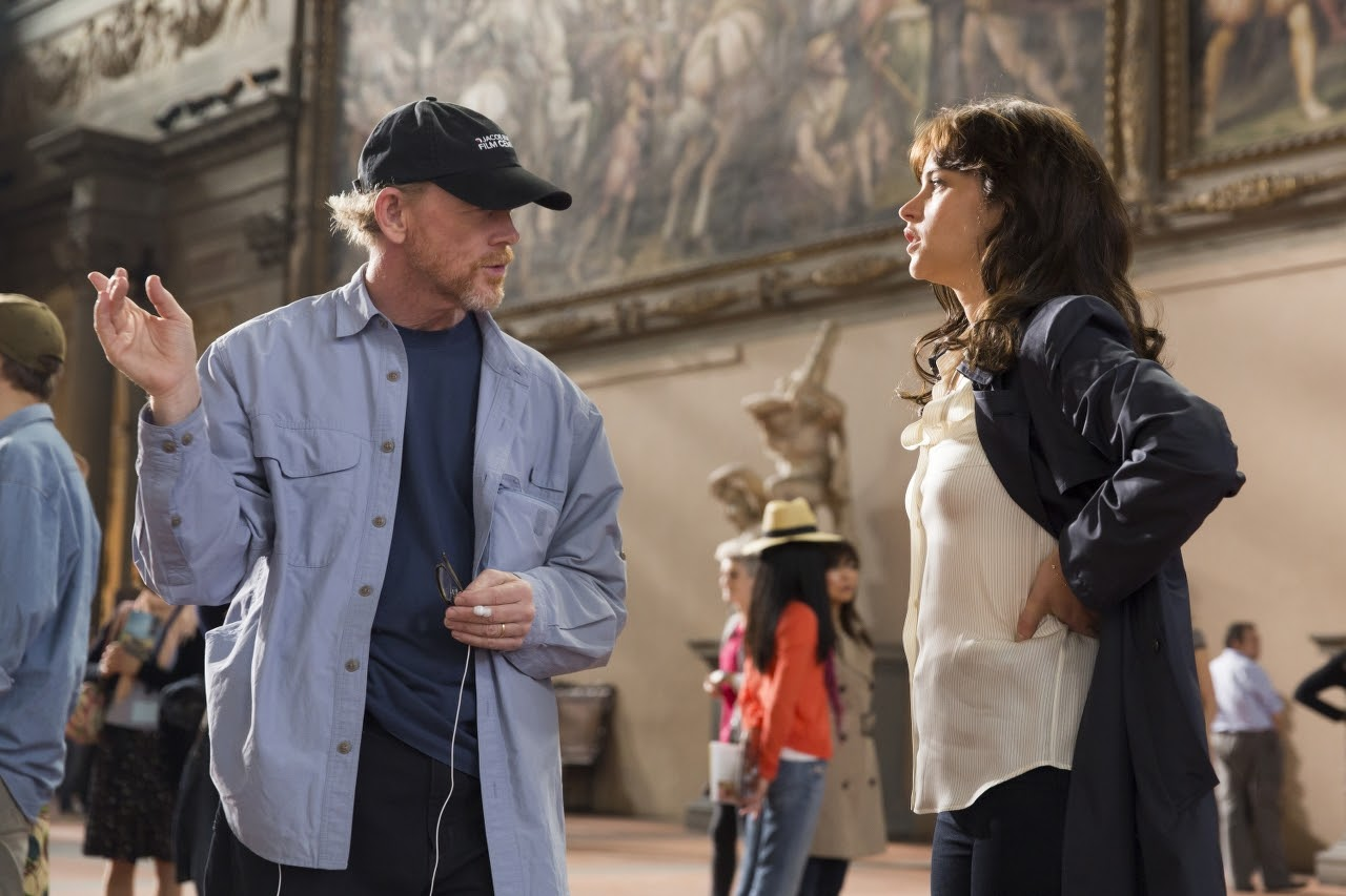 Director/Producer Ron Howard and Felicity Jones on the set of INFERNO. (Photo by Jonathan Prime / courtesy of Columbia PIctures).