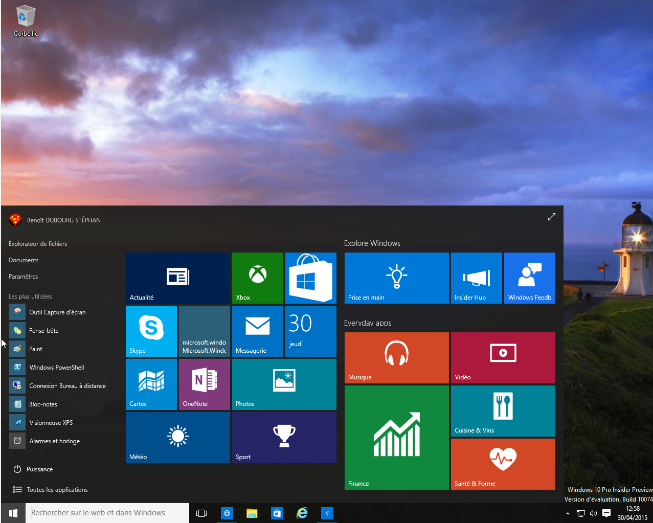 Illustration de Windows 10 Pro Insider Preview