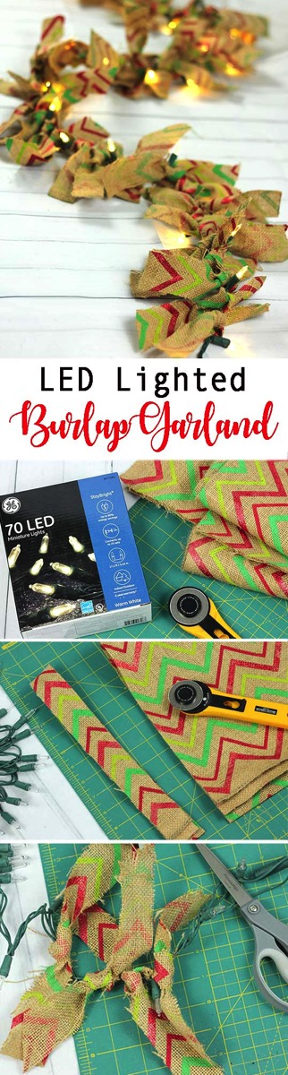 LED Lighted Burlap Garland