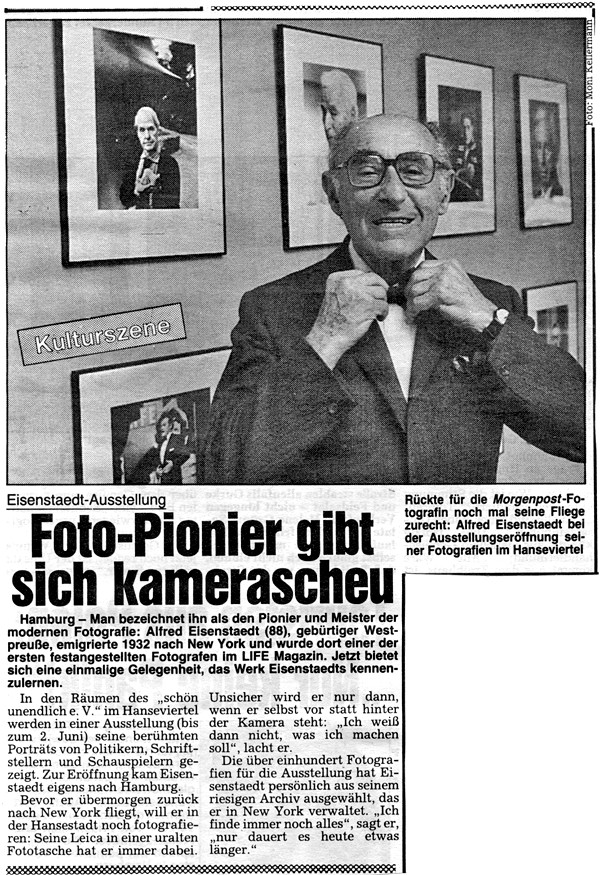 newspaper article on Alfred Eisenstaedt, text and photo by Moni Kellermann