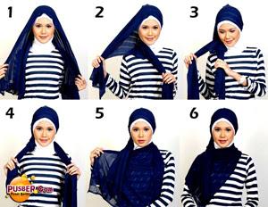 Cara Memakai Jilbab Modern Yang Benar, cara memakai jilbab pashmina modern, cara memakai jilbab pesta modern