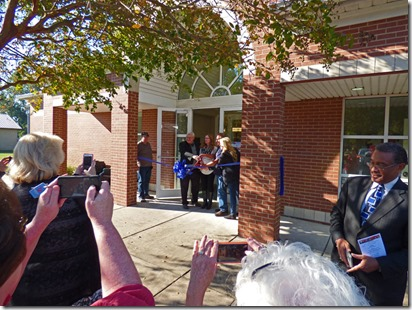 Redfield Library, ribbon cutting for new expanded hours