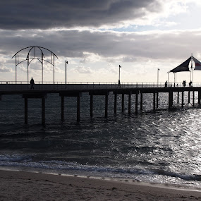 Brighton Jetty at dusk by Pamela Howard - Novices Only Landscapes ( clouds, brighton, sky, sea, beach, jetty )