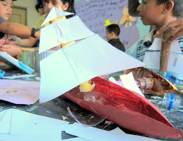 making sail boat in Banos, Ecuador