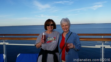 Lin and Nancy on the deck of the Caribbean Princess, leaving the dock in Houston in style.
