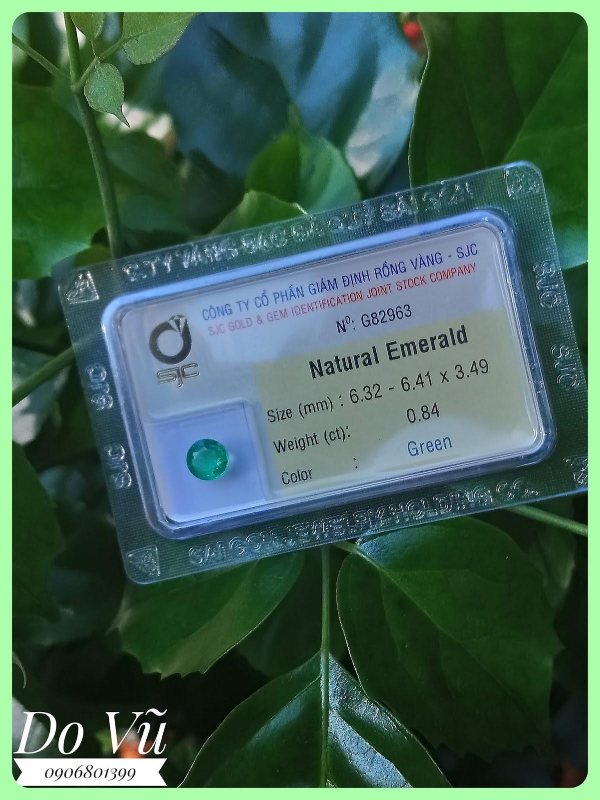 Đá quý Ngọc Lục Bảo thiên nhiên, Natural Emerald tròn đã kiểm định SJC ( 17/04/20, 03 )
