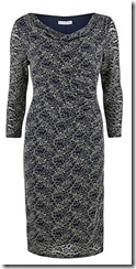 Gina Bacconi two tone navy lace cowl neck dress