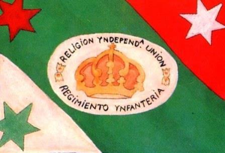 Bandera Nacional adoptada por el Ejército Trigarante