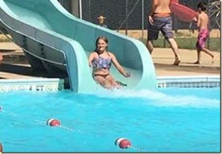 Aubrey on Water Slide in Red Bay