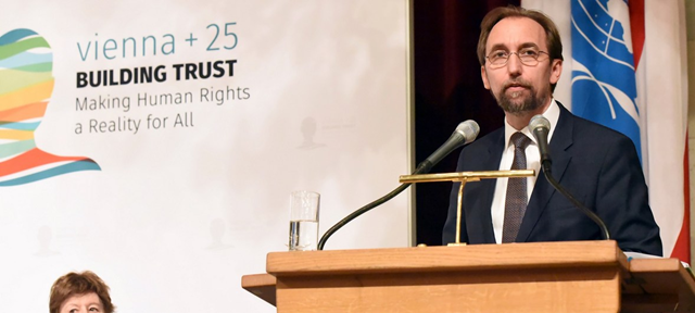 In Vienna, Zeid Ra'ad Al Hussein, UN High Commissioner for Human Rights addresses the International Expert Conference marking the 25th anniversary of the World Conference on Human Rights, 22 May 2018. Photo: Lilia Jiménez-Ertl / NIS Vienna