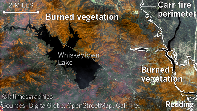 Satellite view of burn scars from wildfires around Redding, California in July 2018. Photo: Los Angeles Times