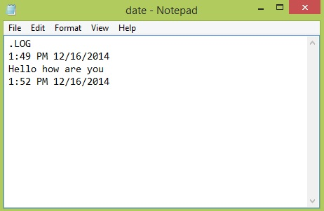 Add timestamp in notepad