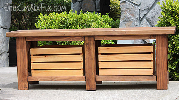 Two tone wooden bench